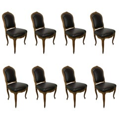 Set of Eight Louis XV Style Leather Dining Chairs
