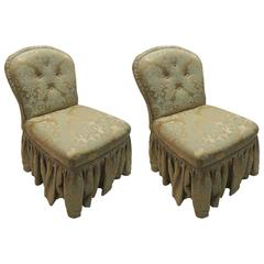Pair of Antique Damask Slipper Chairs