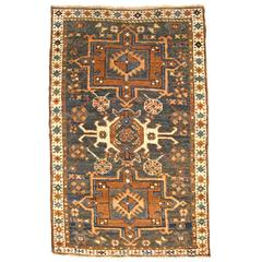 Antique Persian Heriz Karaja Oriental Rug, in Small Size, with Blue Green Field