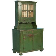 Antique Hungarian Two-Pieces Cupboard with Original Green Paint, circa 1840-1860