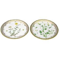 Pair of Royal Copenhagen Flora Danica Round Platters