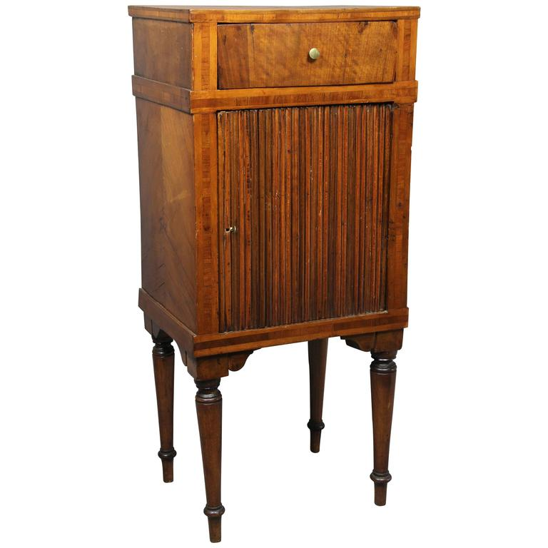 Italian Neoclassic Walnut Commodini/ Bedside Table