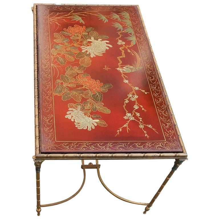 1950-1970 Coffee Table in the Style of Maison Baguès Red Lacquer of China 1