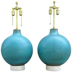 Monumental Pair of 1970s Aqua Blue Art Pottery Table Lamps