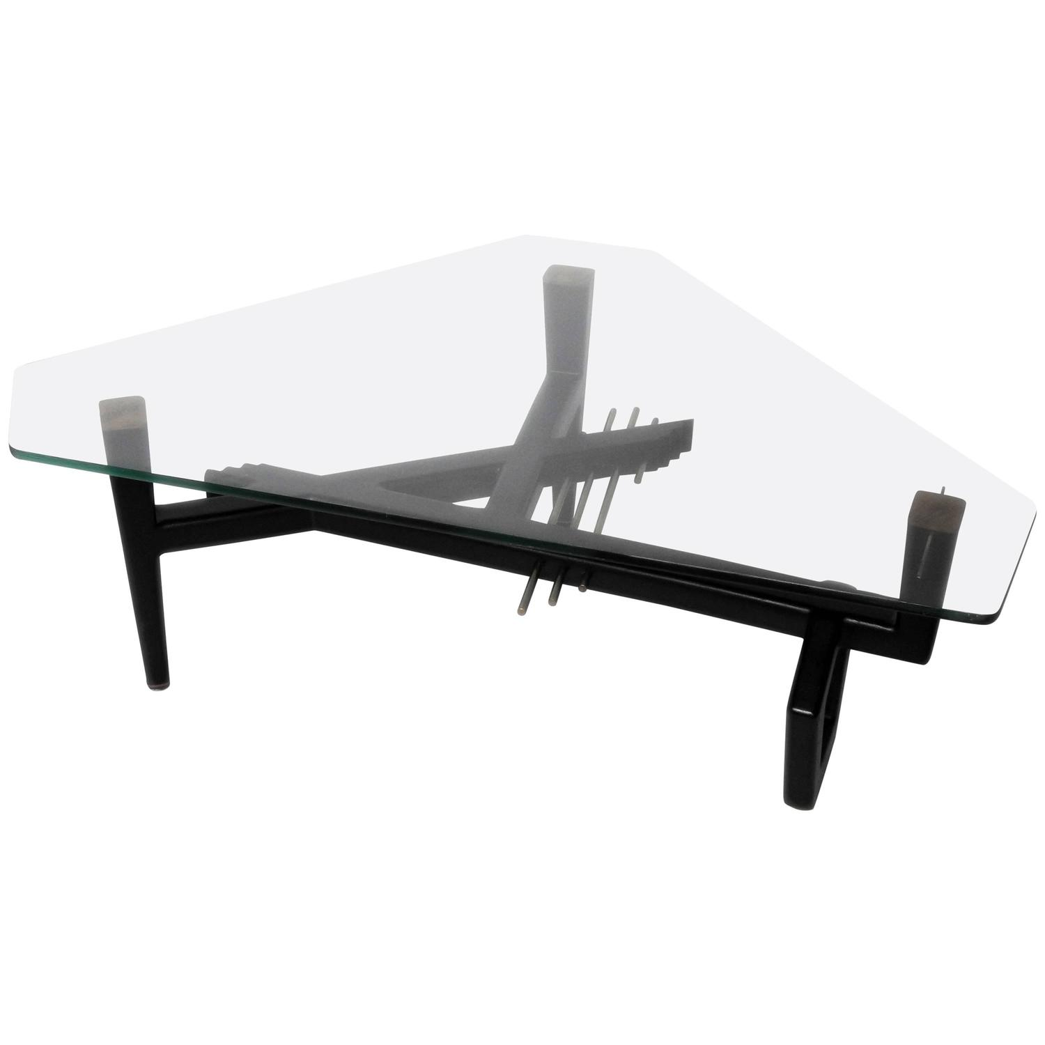 Mid Century Modern Style Glass Top Coffee Table For Sale At 1stdibs