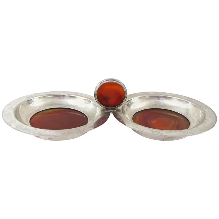 Charming 1940s English Silver and Agate Double Wine Coaster