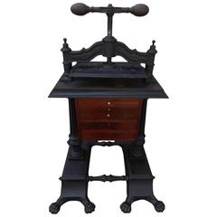 American Cast Iron & Mahogany Letter Press, Circa 1830
