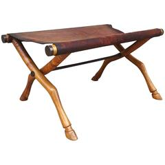 Rare 1950s T.H. Robsjohn-Gibbings for Saridis Walnut and Bronze Folding Bench