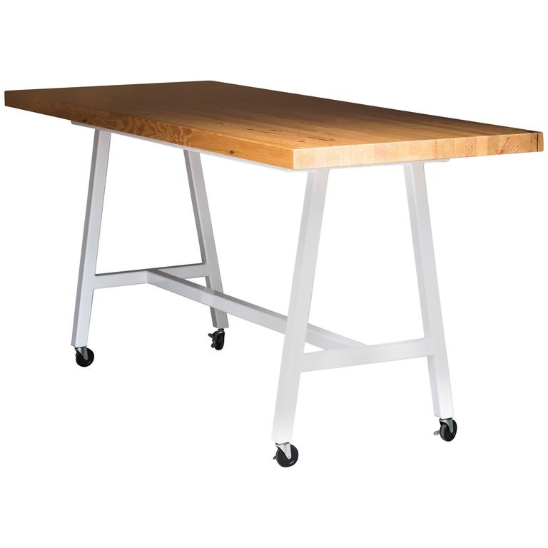 The Mill Table, Modern Doug Fir and Powder Coated Steel Bar/Table For Sale