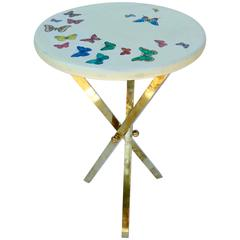 Piero Fornasetti Butterfly Table with Brass Base Mid-Century Italian