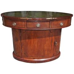 English Mahogany Oval Sea Captains Leather Top Desk, Circa 1800