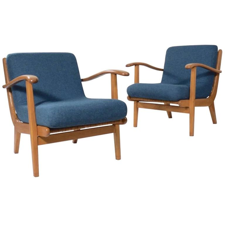 Pair of Curvaceous Oak Ladderback Easy Chairs