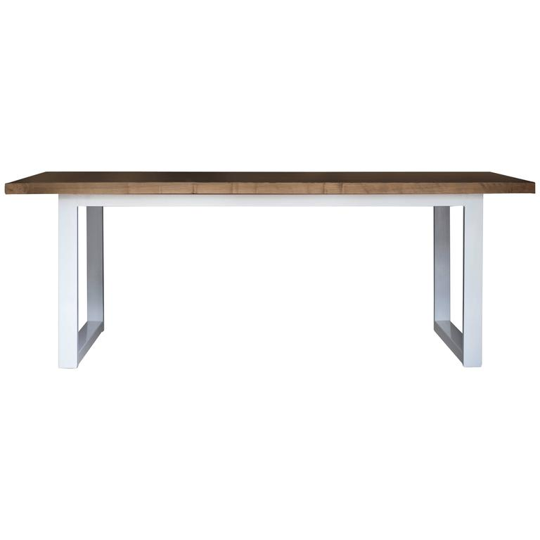 Kitchen Table, Modern Wood and Powder Coated Steel Dining Table