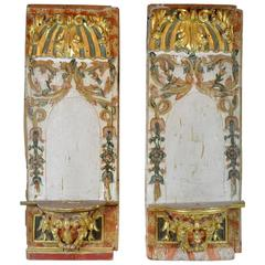 pair of fabulous 18th century carved italian partial paint and gilt brackets