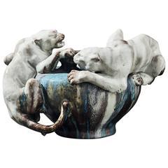 """Panther Dominance"" Art Nouveau Cachepot by Pierre-Adrien Dalpayrat"