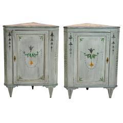 Pair of 19th Century Italian Paint Decorated Corner Cabinets