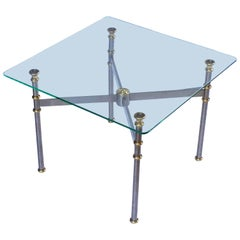 French Low Coffee or Cocktail Table of Steel and Brass