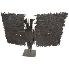 Brutalist Mid-Century Bronze, T. Mori 1962  Butterfly.