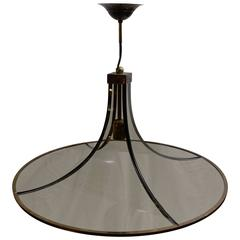 Mid-Century Italian Round Smoked Glass Chandelier, Brass Trim