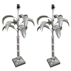 One Pair Silvered Metal and Crystal Table Lamps in the Form of Palm Trees
