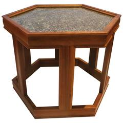 Mid-Century American Hexagon End Table Design by John Keal for Brown Saltman