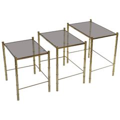 French Nesting Low Tables of Gilt Metal and Glass