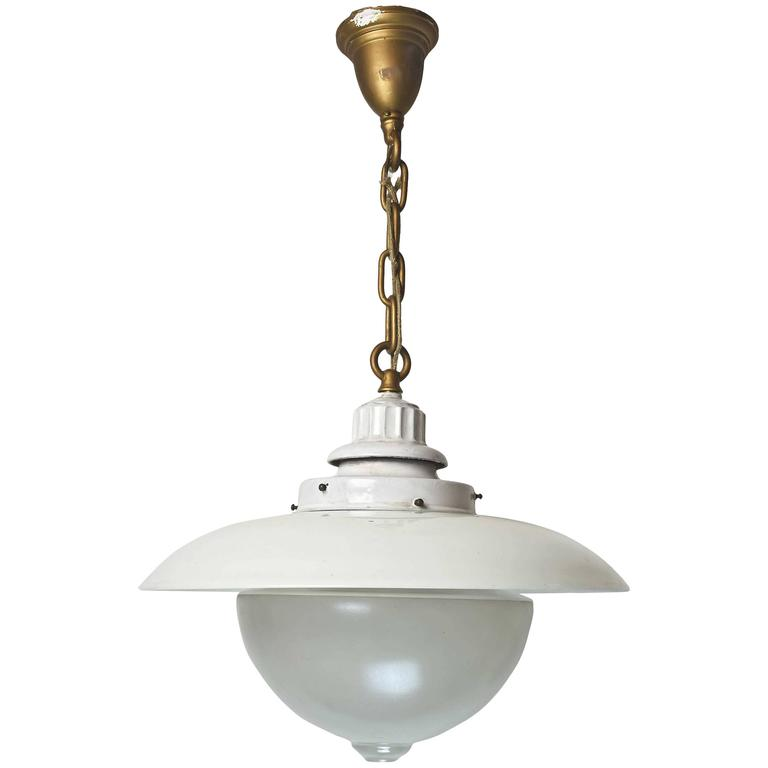 Early American 'Denzar' Two-Piece Shade and Enameled Fixture by Beardslee 1