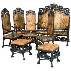 7 Pieces Living Room Set with Original Painted and Embossed Leather Seats Sweden