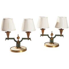 Pair of Art Deco French Patinated and Gilded Bronze Table Lamps Genet et Michon