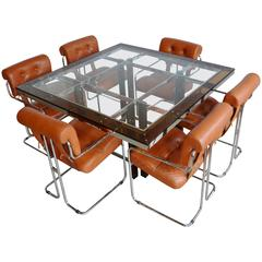 Leather Tucroma Chairs for Pace and Amber Acrylic and Glass Dining Table:  1970