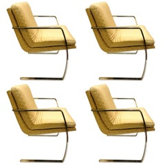 1970s Solid Stainless Steel Frame Upholstered Armchairs