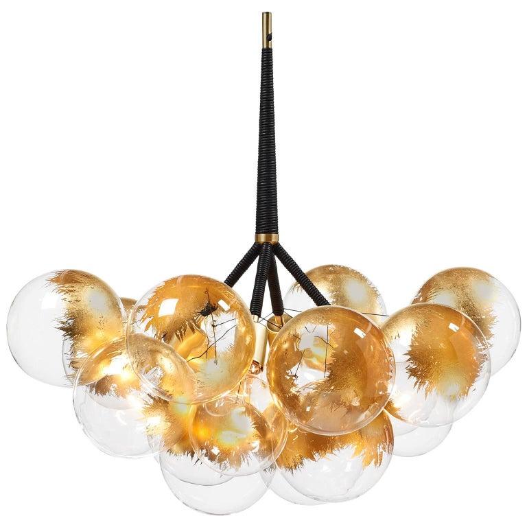 24-karat Gold X-Large Bubble Chandelier in Black Leather & Satin Brass by PELLE For Sale