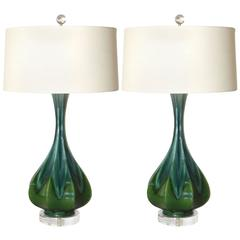 Pair of Blue and Green Ceramic Drip Glaze Lamps, circa 1960