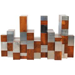 Dramatic Paul Evans Burl Wood and Chrome Cityscape Dining Table