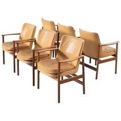 Ib Kofod-Larsen Set of Six Armchairs in Rosewood and Natural Leather