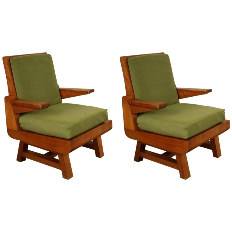 Pair of Heavy French Brutalist Oak Armchairs 1