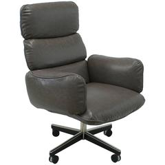 Otto Zapf for Knoll International Grey Leather Executive Desk Chair