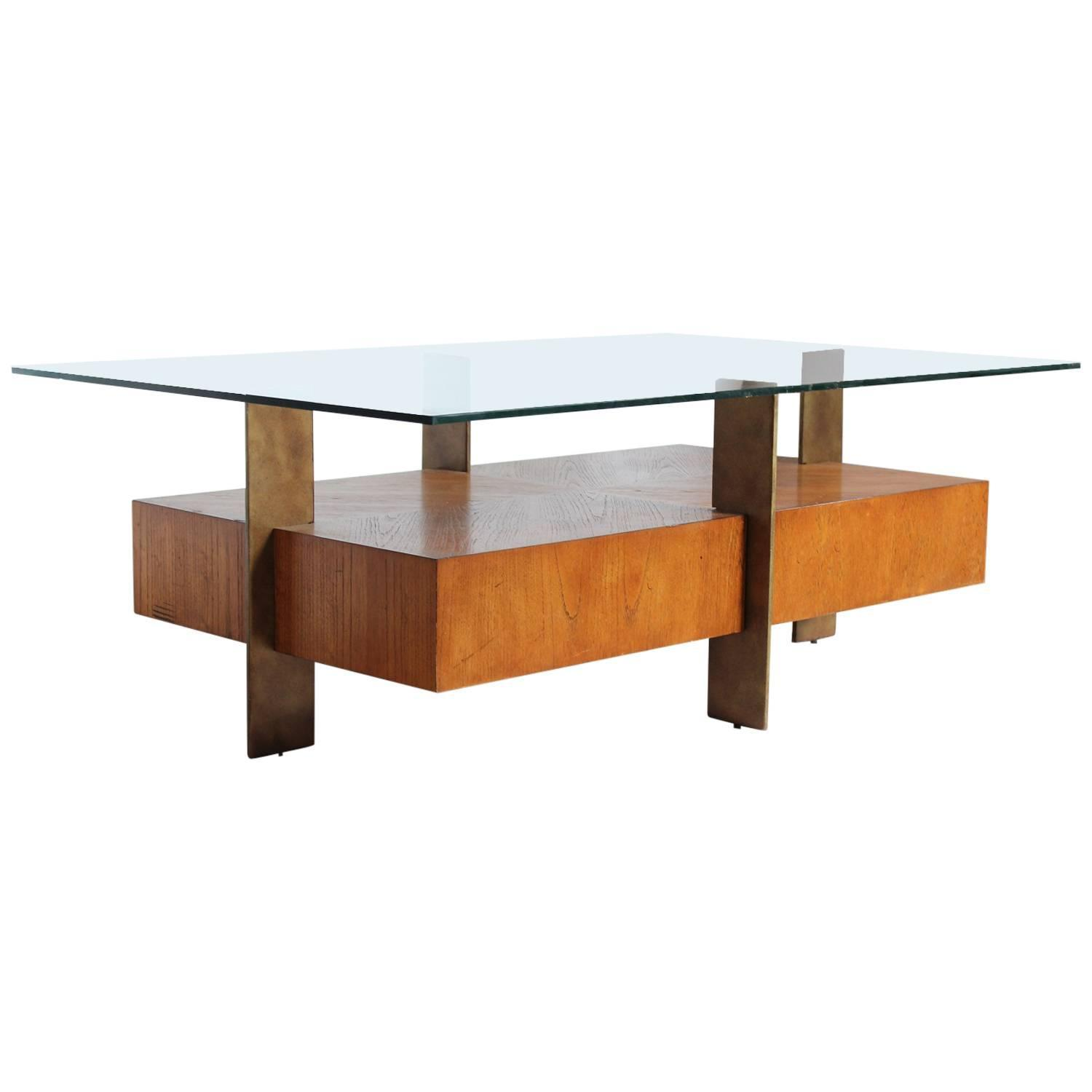Marvelous photograph of Modern Wood and Metal Coffee Table with Glass Top For Sale at 1stdibs with #A75F24 color and 1500x1500 pixels