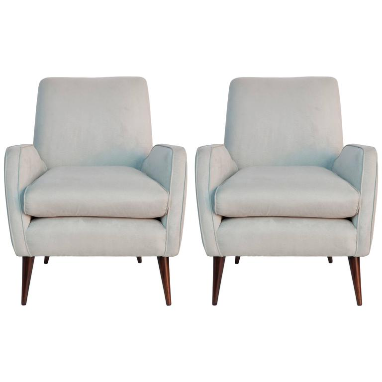 Pair of Joaquim Tenreiro Faux Suede Armchairs on Jacaranda Legs 2