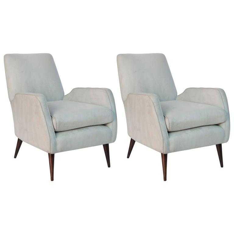 Pair of Joaquim Tenreiro Faux Suede Armchairs on Jacaranda Legs 1