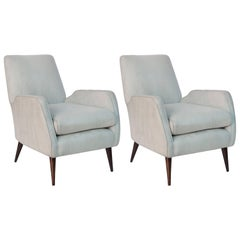 Pair of Joaquim Tenreiro Faux Suede Armchairs on Jacaranda Legs