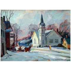 Emile Gruppe Oil Painting, Church in Jeffersonville Vermont