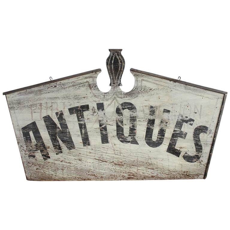 "Antique Hand-Painted Double-Sided Wood Sign ""ANTIQUES"" For Sale"