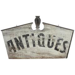 "Antique Hand-Painted Double-Sided Wood Sign ""ANTIQUES"""