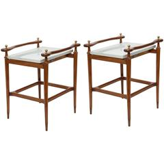 Pair of Giuseppe Scapinelli Marble-Top Side Tables in Caviuna