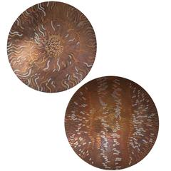 Pair of Etched Copper Chargers by Lee and Naomi Peck