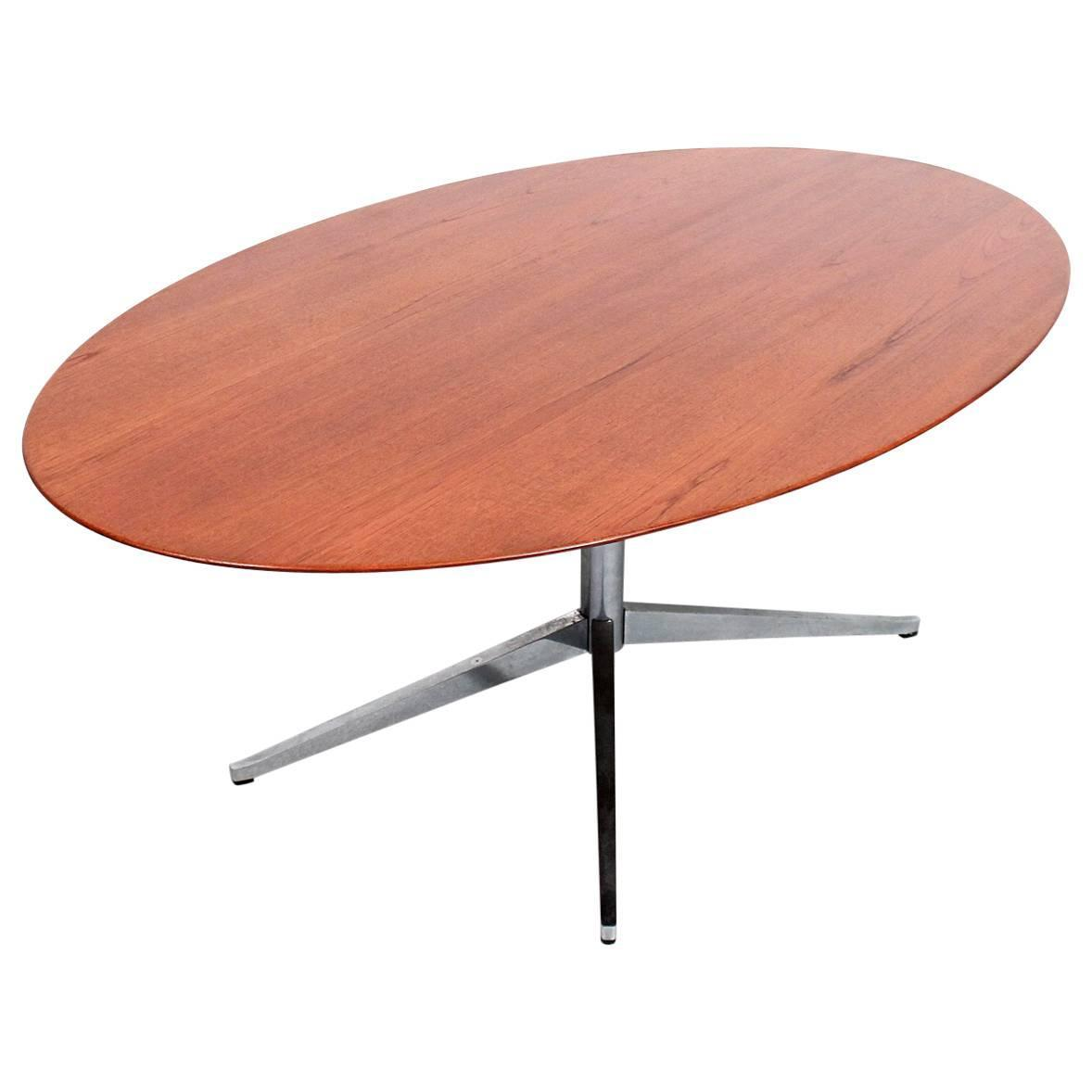 oval florence knoll teak dining table for sale at 1stdibs. Black Bedroom Furniture Sets. Home Design Ideas