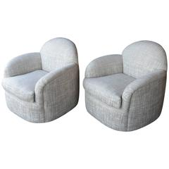 Pair of Milo Baughman Swivel Armchairs
