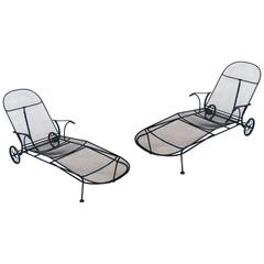Matched Pair of Sculptura Chaise Lounges by Russell Woodard