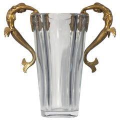 Baccarat Crystal Vase Embellished with Bronze Sea Maidens by Erte